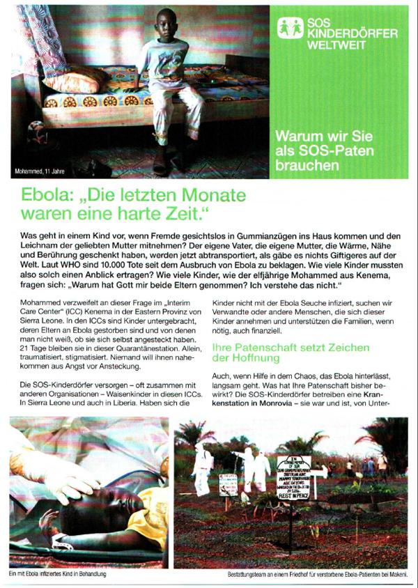 Ebola-Artikel der SOS-Kinderdörfer