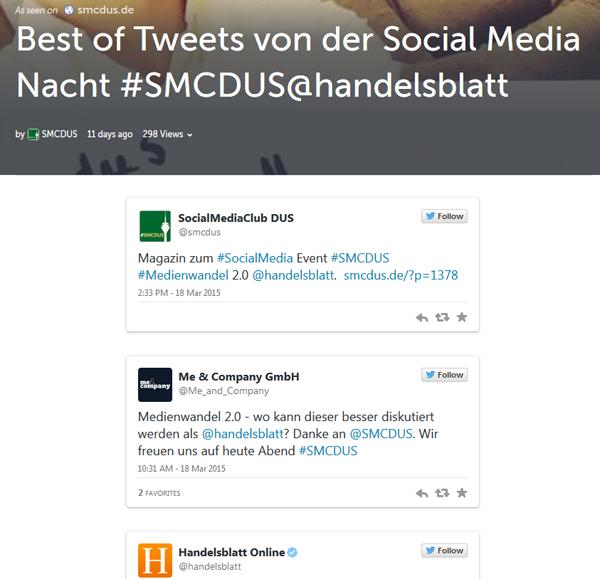 Twitterwall auf Storify