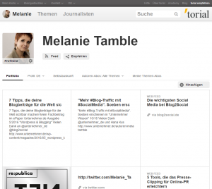 Online Marketing torial Profil Melanie Tamble