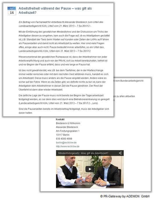 Pressemitteilung Rechtsanwälte Bredereck Willkom Arbeitsrecht im Interview mit Video