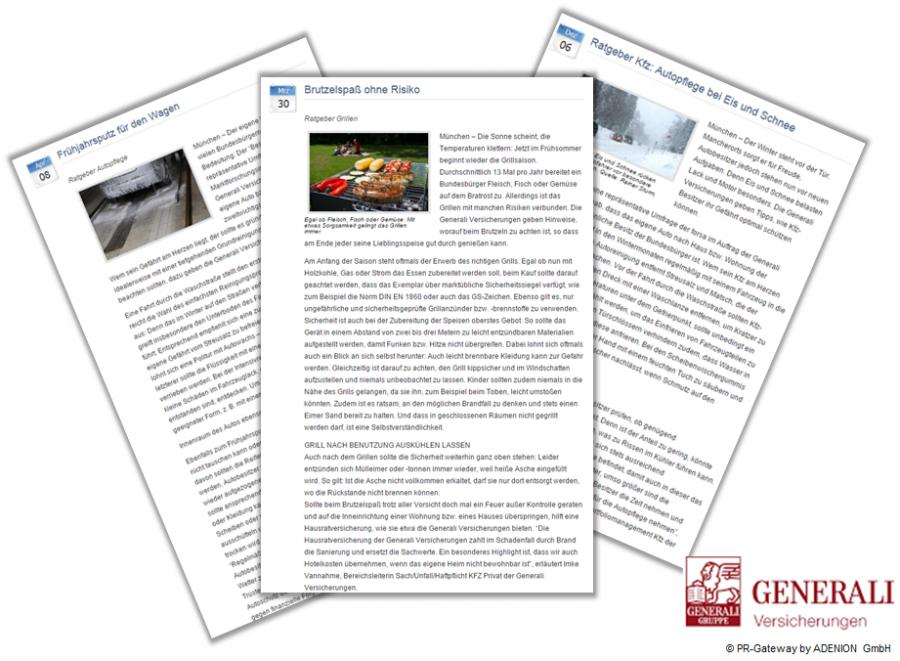 Pressemitteilungen der Generali Versicherungen mit saisonale Ratgebern