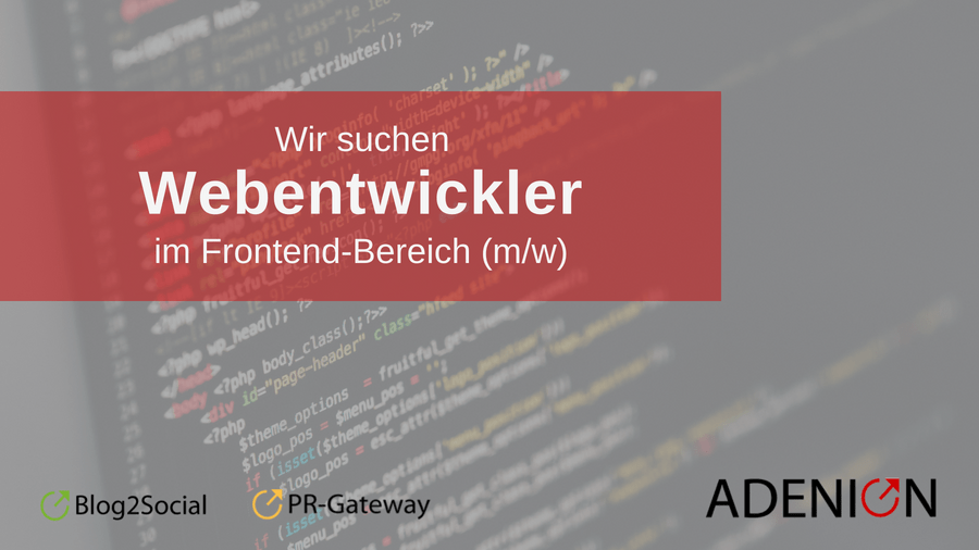 Jobangebot Webentwickler Frontend