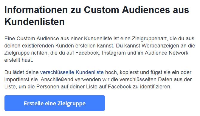 Facebook-Erklärung zur Custom Audience-Variante mit Kundenliste