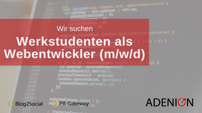 Jobangebot Werkstudenten als Webentwickler
